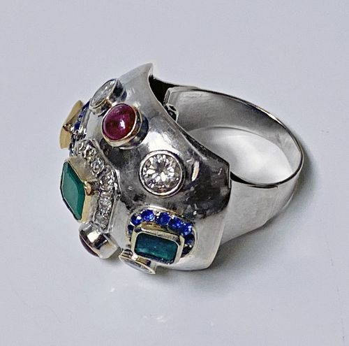 1960's Sputnik Gold Diamond and Gemstone Ring.