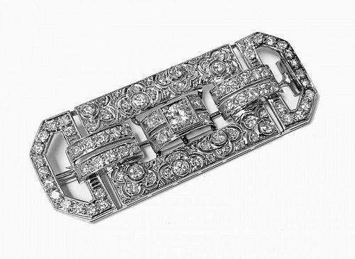Art Deco Diamond and Platinum Brooch C.1925