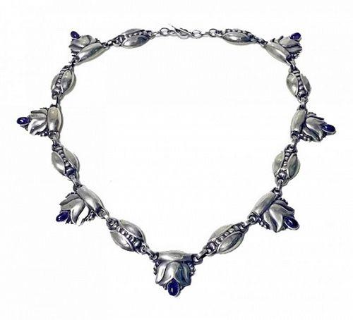 Georg Jensen rare design Sterling Amethyst Necklace C.1930 design No.3