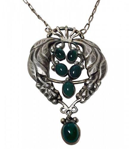 Early Georg Jensen design No 5 Pendant Necklace, Denmark C.1908