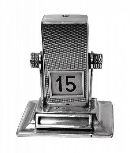 Silver mechanical rotating desk calendar London 1930 Stockwell