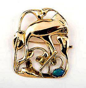 Rare Petersen Gold Brooch Montreal C.1930