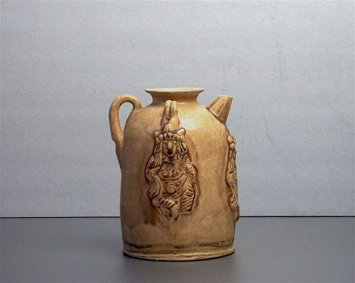 Rare Tang Dynasty Changsha Yao Jug or Ewer with Three Dancing Figures