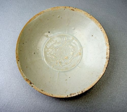 Qingbai Porcelain Bowl with a Moulded Pattern of Fish