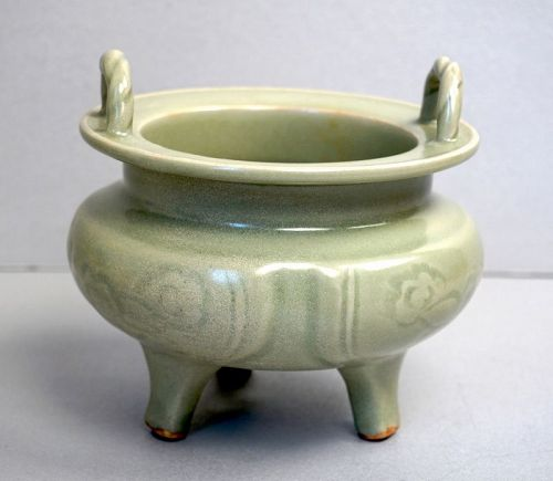 Ming Dynasty Longquan Celadon Tripod Censer with Corded Handles