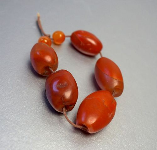 5 Authentic Pema Raka Carnelian Beads, 500-2000+ years old.