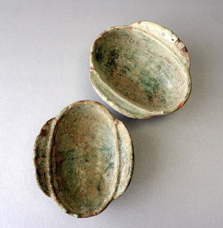 A Pair of Han Dynasty Green Glazed Pottery Ear Cups