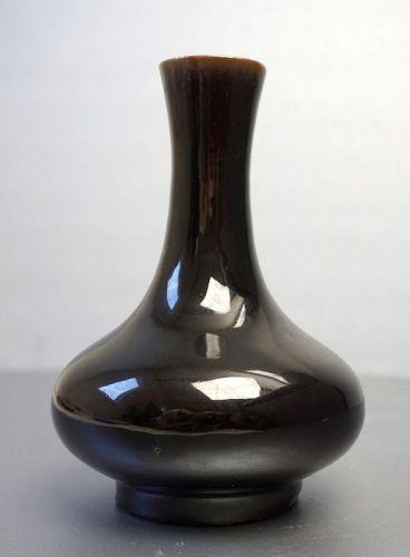Kangxi Mark Mirror Black Vase with Slim Neck, 1800-1900