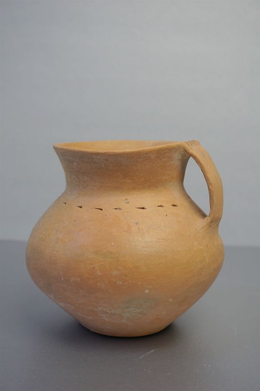 A Rare Qijia Culture Pottery Jar with Single Handle