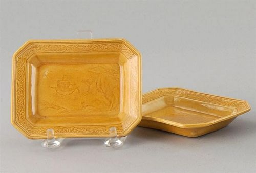 A  Pair of Yellow Glazed Rectangular Dishes with Incised Landscape