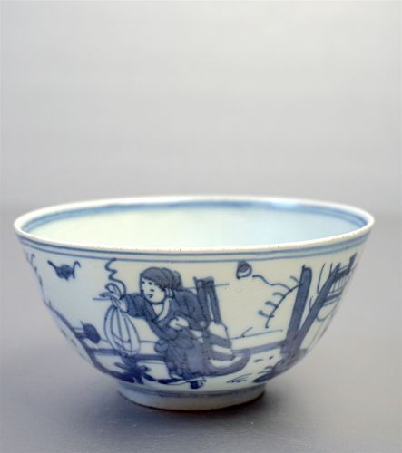 Ming Dynasty Possibly Jiajing Blue and White Bowl with Scholar Figure