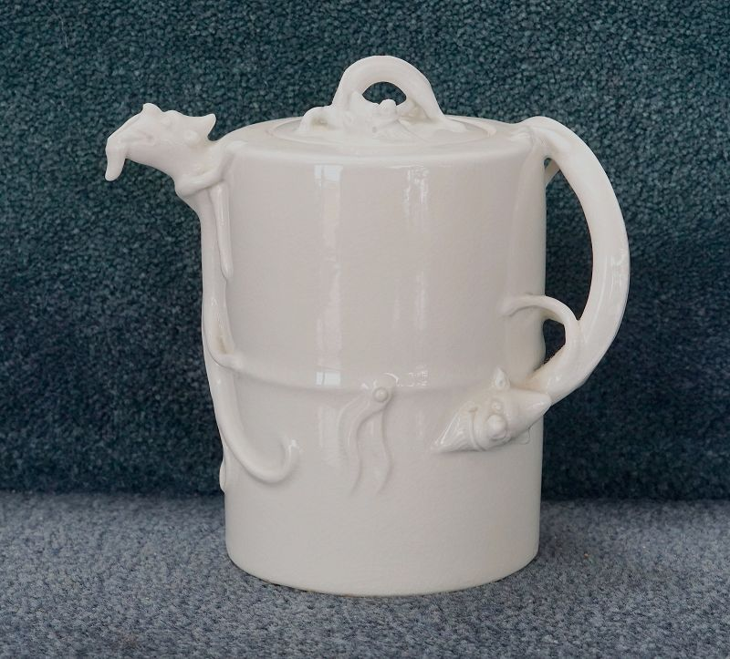 An extremely RARE Kangxi Soft-paste Winepot with Chilong Handle