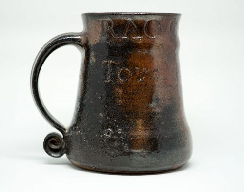 A Unique Bernard Leach Incised Pottery Mug