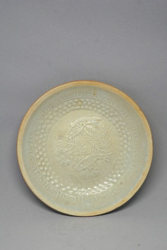 A Qingbai Saucer Dish with Two Fish Swimming, decorated with Cloud Pat