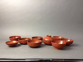 Group of  mingei red lacquered bowls.Edo period