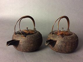 Pair of iron kettles with makie lacquer covers and copper handle,19th.