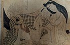 Erotic print by Utamaro school, edo period
