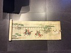 Rare Edo period scroll depictng Samurai racing horses