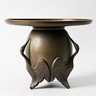 Japanese Bronze Vase Usubata beautiful rare crane legs art deco E42