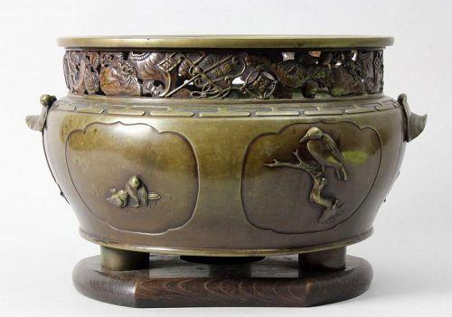 Japanese bronze incense burner , Meiji Era F29