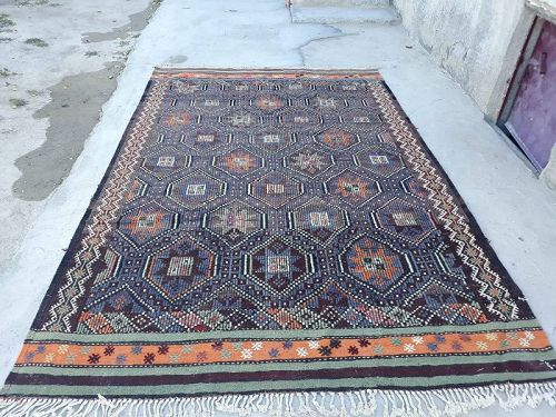 Antique Turkish Sivas Cicim Carpet
