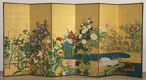 Antique Japanese Six Panel Screen, Flowers and Water