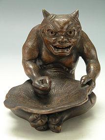 Old Japanese Bizen Ware Demon Figurine