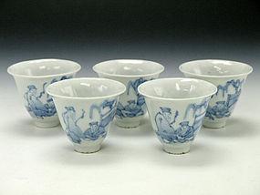 Edo Era Japanese Kyo-Yaki Chawan Set