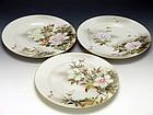 Three Japanese Meiji Era Porcelain Plates Yokohama