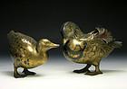 Japanese Pair of Mandarin Ducks Bronze Figurines Meiji