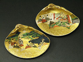 Two Japanese Painted Clam Shells Edo Period