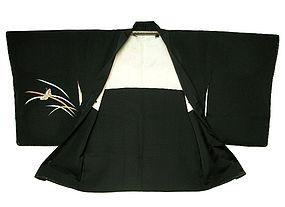 Beautiful Silk Woman Haori Black Butterfly Pattern