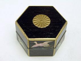 Japanese Lacquer Box 16-Petal Chrysanthemum and Cranes