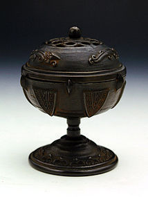 Small Bronze Incense Burner by Makita Shuun