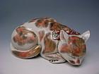 Meiji Period Imari Porcelain Sleeping Cat