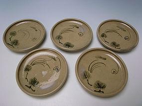 Meiji Period Seto Plate Set