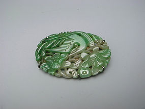 Antique Japanese Silver & Jade Brooch
