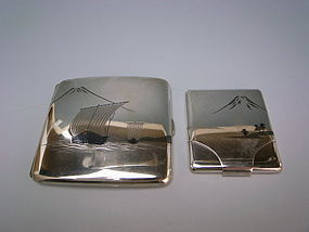 Vintage Japanese Silver Cigarette and Match Case Set