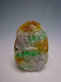 Amazing Five Color Natural Jade Pendant