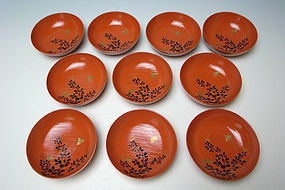 Meiji Period Lacquer Bowl Set