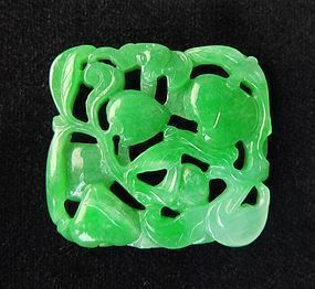 Antique Natural Hand Carved Green Jade Stone