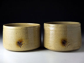 Vintage Set of Two Ki-seto Chawan