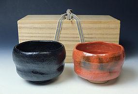 Set of Two Raku Chawan by Hayashi Tozo