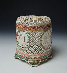 Meiji Period Imari Porcelain Reticulated Koro