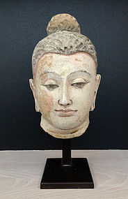 Remarkable Head of Buddha, Gandhara, 4-5th century