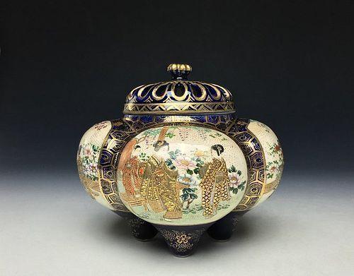 Meiji Period Nishikite Kyo-satsuma Koro by Tozan