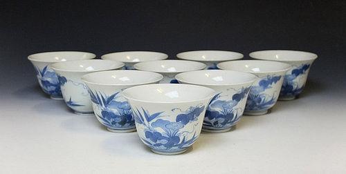 Antique Set of Nabeshima Porcelain Mukozuke Cups