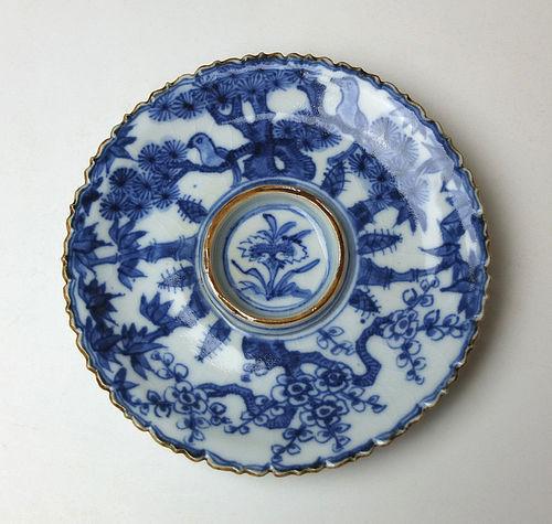 Sometsuke Sake Saucer by Eiraku Zengoro Hozen