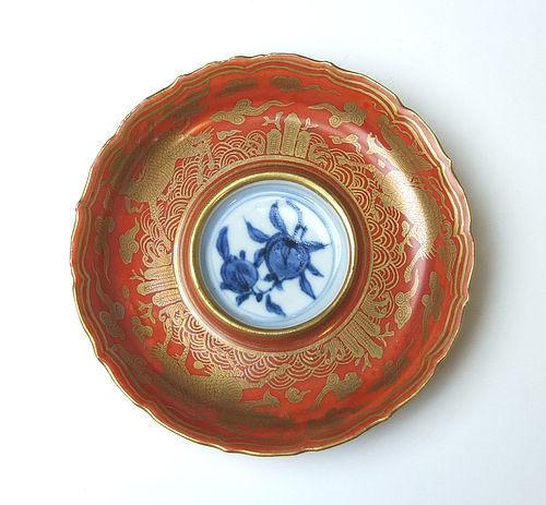 Kinrande Sake Saucer by Eiraku Zengoro Wazen