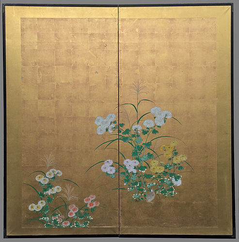 Exquisite Edo Period Two-fold Screen - Rinpa School